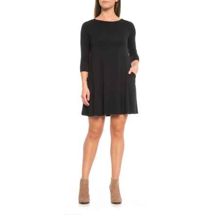 Sigrid Olsen Dress with Slouched Pockets - 3/4 Sleeve (For Women) in Black - Closeouts
