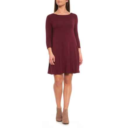 Sigrid Olsen Dress with Slouched Pockets - 3/4 Sleeve (For Women) in Vamp - Closeouts