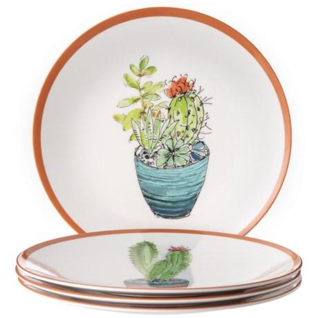 Sigrid Olsen Fern Cacti Melamine Appetizer Plates - Set of 4 in Multi