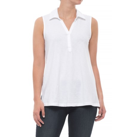Sigrid Olsen Modern Slub Collared Tank Top - V-Neck (For Women) in White