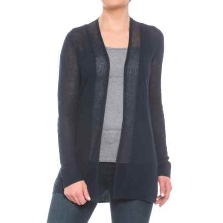 Sigrid Olsen Shark Bite Linen Cardigan Sweater - Drape Neck (For Women) in Midnight Navy - Closeouts