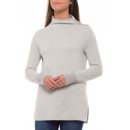 0cb6e7ee42 Sigrid Olsen Split-Neck Pullover Sweater (For Women) in Grey Heather/Ivory