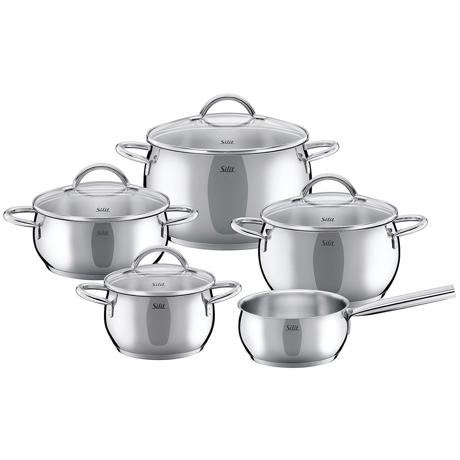 silit nobile stainless steel induction cookware set 9 piece save 68. Black Bedroom Furniture Sets. Home Design Ideas