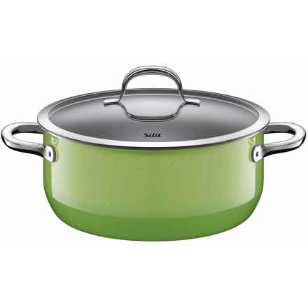 Silit Passion Low Casserole Pot with Lid - 4.6 qt. in Green - Closeouts