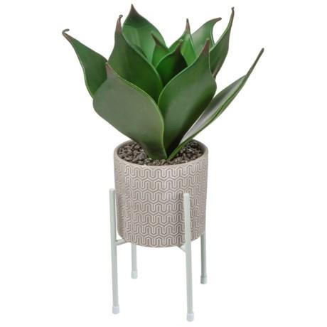Silkcraft of Oregon Aloe in Small Ceramic Pot in Grey/White
