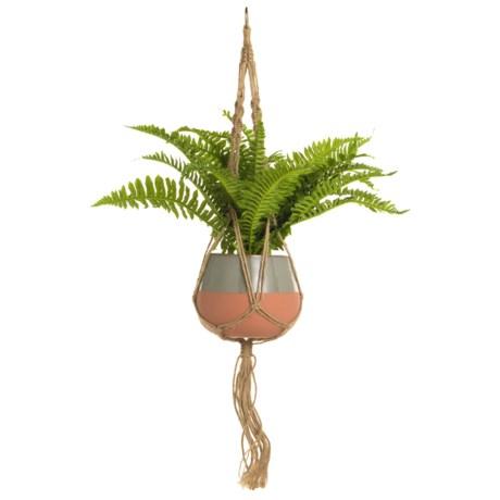 Silkcraft of Oregon Fern in Hanging Terracotta Pot in Orange/Silver/Natural