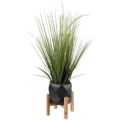 Silkcraft of Oregon Grass in Small Geo Pot in Grey/Natural
