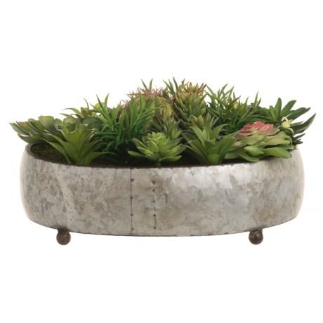Silkcraft of Oregon Round Galvanized Metal Succulent Garden in Silver