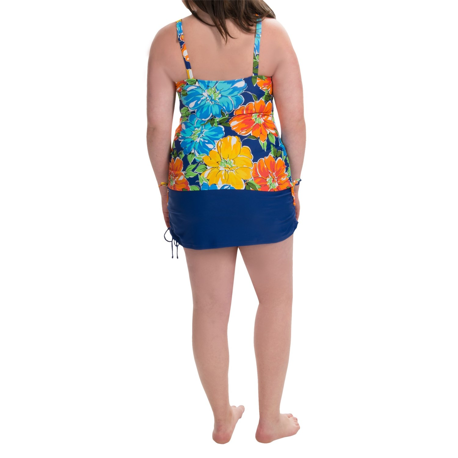 silver by gottex ruched skirt tankini for plus size