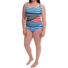 Silver by Gottex Striped One-Piece Swimsuit (For Plus Size Women) in Black/Blue - Closeouts