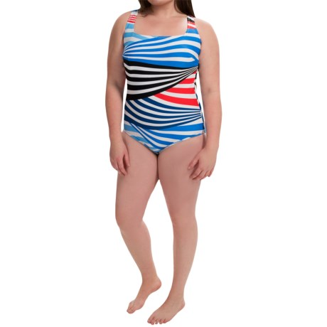 Silver by Gottex Striped One Piece Swimsuit (For Plus Size Women)