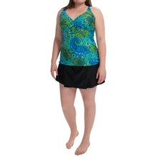 Silver by Gottex Tankini - Skirted Bottoms (For Plus Size Women) in Blue/Green/Black - Closeouts