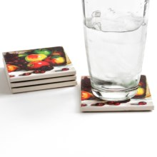 Silver Coast Creations Coasters - Set of 4 in Cascading Fruit - Closeouts