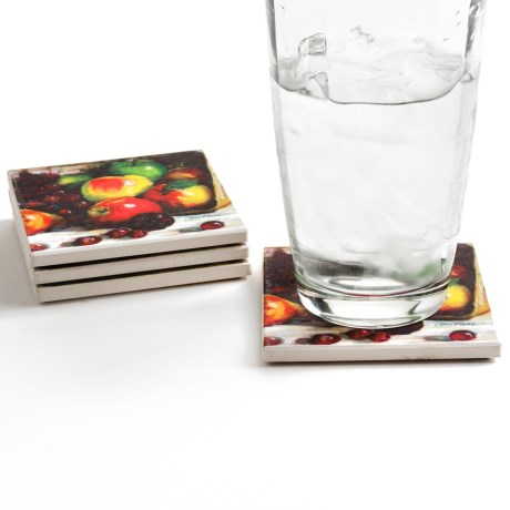 Silver Coast Creations Coasters - Set of 4 in Cascading Fruit