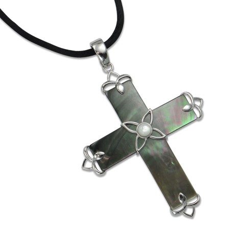 Silver Express Cross Pendant - Mother-of-Pearl Shell, Silk Cord in Black/Mop