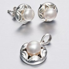 Silver Express Freshwater Pearl Earring and Pendant Set in Fresh Water Pearl - Closeouts