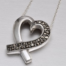 Silver Express Sterling Silver Marcasite Heart Pendant Necklace in Sterling Silver - Closeouts