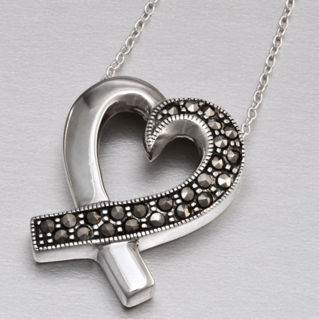Silver Express Sterling Silver Marcasite Heart Pendant Necklace in Sterling Silver