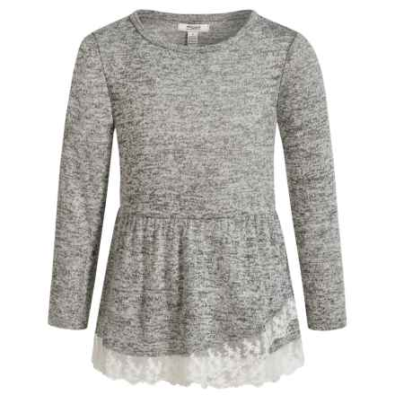Silver Jeans Asymmetrical Flutter Hem Shirt - Long Sleeve (For Little Girls) in Heather Charcoal - Closeouts