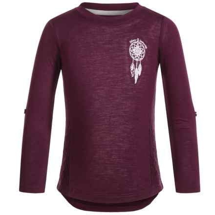 Silver Jeans Dream Catcher Lace Shirt - Long Sleeve (For Big Girls) in Purple - Closeouts