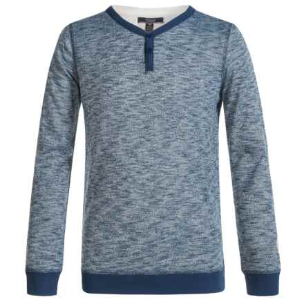 Silver Jeans Henley Shirt - Long Sleeve (For Big Boys) in Heather Blue - Closeouts