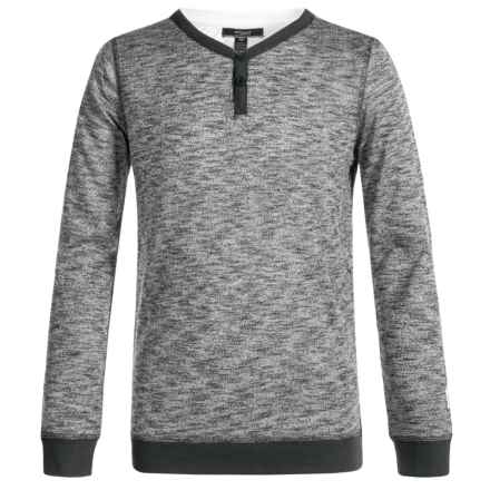 Silver Jeans Henley Shirt - Long Sleeve (For Big Boys) in Heather Charcoal - Closeouts