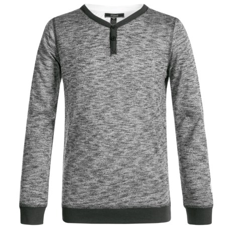 Silver Jeans Henley Shirt - Long Sleeve (For Big Boys) in Heather Charcoal