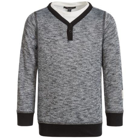 Silver Jeans Henley Shirt - Long Sleeve (For Little Boys) in Heather Charcoal