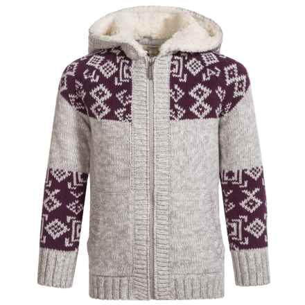 Silver Jeans Hooded Knit Sweater (For Little Girls) in Heather Grey - Closeouts