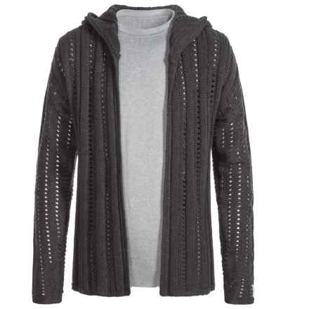 Silver Jeans Open Cardigan Hooded Sweater (For Big Girls) in Heather Charcoal - Closeouts