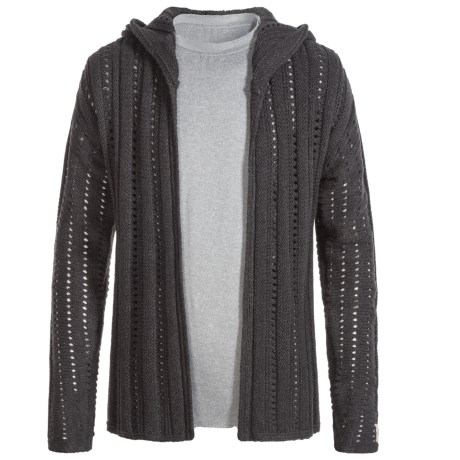 Silver Jeans Open Cardigan Hooded Sweater (For Big Girls) in Heather Charcoal