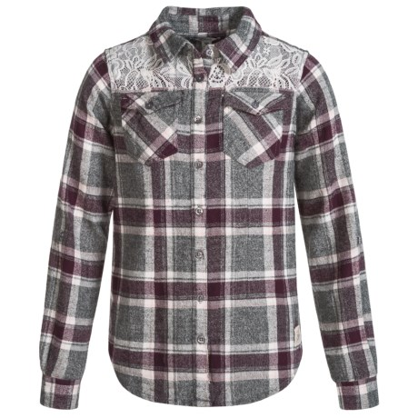 Silver Jeans Plaid and Lace Flannel Shirt - Long Sleeve (For Little Girls) in Purple