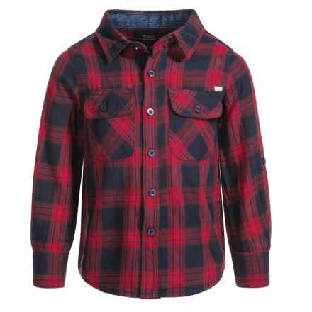 Silver Jeans Plaid Flannel Shirt - Long Sleeve (For Big Boys) in Red - Closeouts