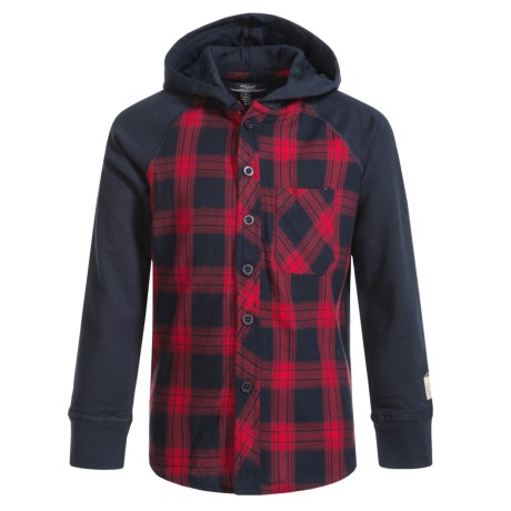 Silver Jeans Plaid Hooded Shirt - Long Sleeve (For Little Boys) in Navy