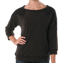 Silver Jeans Pullover Shirt with Crochet - Lightweight, 3/4 Sleeve (For Women) in Black - Closeouts