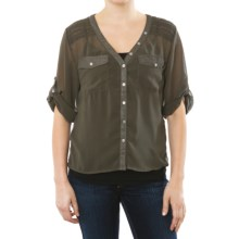 Silver Jeans Rolled Cuff Shirt - Chiffon, Short Sleeve (For Women) in Forest Night - Closeouts
