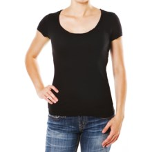 Silver Jeans Scoop Neck T-Shirt - Stretch Cotton, Short Sleeve (For Women) in Black - Closeouts
