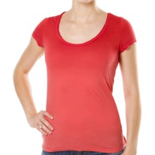Silver Jeans Scoop Neck T-Shirt - Stretch Cotton, Short Sleeve (For Women) in Coral - Closeouts