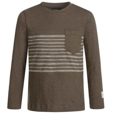Silver Jeans Striped Shirt - Long Sleeve (For Little Boys) in Army - Closeouts