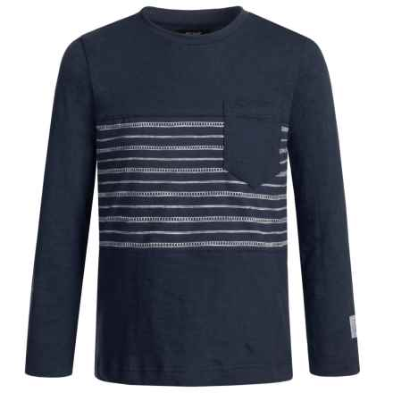 Silver Jeans Striped Shirt - Long Sleeve (For Little Boys) in Navy - Closeouts