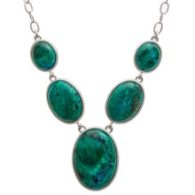 Silver Moon by Dakota West Chrysocolla Drop Necklace - Plated Sterling Silver in Silver/Chrysocolla - Closeouts