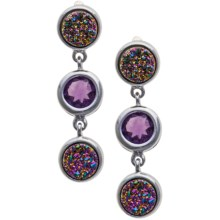 Silver Moon by Dakota West Rainbow Druzy Earrings - Plated Sterling Silver in Silver/Amethyst/Pink - Closeouts