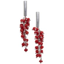 Silver Moon by Dakota West Red Coral Drop Earrings - Plated Sterling Silver in Silver/Red Coral - Closeouts