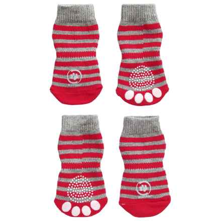 Silver Paw Anti-Slip Indoor Dog Socks in Red - Closeouts