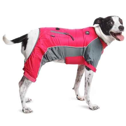 Silver Paw Full-Body Dog Rain Jacket in Fuschia/Charcoal - Closeouts
