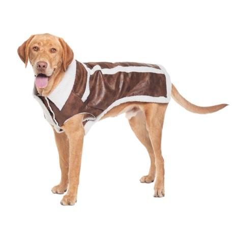 Silver Paw Sherpa Fleece Dog Jacket in Brown
