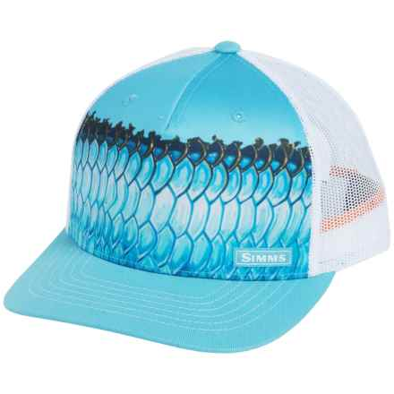 Simms Artist Series Five-Panel Trucker Cap (For Men and Women) in Deyoung Tarpon Sky Blue - Closeouts