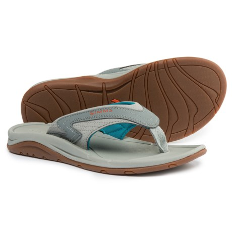 Simms Atoll Flip-Flops - Vegan Leather (For Women) in Lagoon