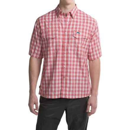 Simms Big Sky COR3 Fishing Shirt - UPF 50, Short Sleeve (For Men) in Brick Plaid - Closeouts