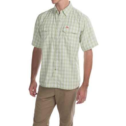 Simms Big Sky COR3 Fishing Shirt - UPF 50, Short Sleeve (For Men) in Citron Plaid - Closeouts